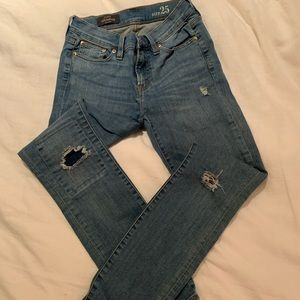J. Crew toothpick skinny jeans with patch work